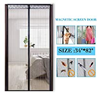 PAICloud 磁性屏门网布窗帘适合*大 86.36 厘米 x 203.2 厘米的门,全框魔术贴门帘带重型网布,可防止蚊子飞出昆虫