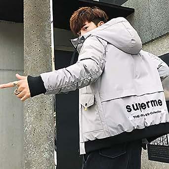男士外套冬季2018新款棉衣潮流韩版羽绒棉服棉袄加厚日系工装男装8985灰色 M