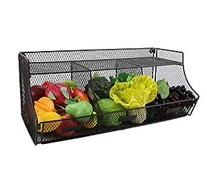 TQVAI 大号壁挂式水果篮悬挂式厨房储物盒,无需组装 Brown- Assemble