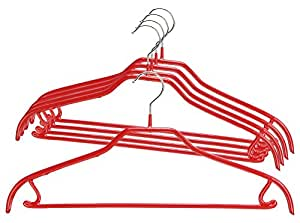 Mawa by Reston Lloyd Silhouette Light/Thin Non-Slip Space Saving Clothes Hanger with Bar & Hook for Pants and Skirts, Style 41/FRS, Set of 5, Red