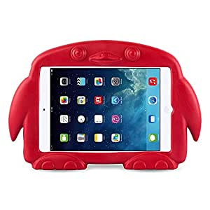 iPad Mini Case, Protective Foam Penguin Kid Proof Carry Cover for iPad Mini 3rd, 2nd and 1st Generation, Red