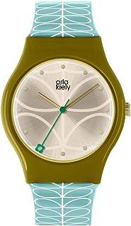 Orla Kiely 欧拉·凯利 中性成人模拟经典石英手表皮革表带 OK2226,香槟色