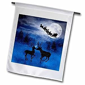 DOREEN erhardt 圣诞节系列–浪漫圣诞驯鹿亲吻 IN THE SNOW with A 冬季月亮 SHINING ON THE 森林–旗帜 12 x 18 inch Garden Flag