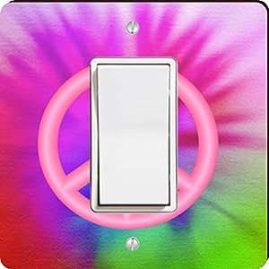 Rikki Knight Peace Logo on Color Single Rocker Light Switch Plate, Pink