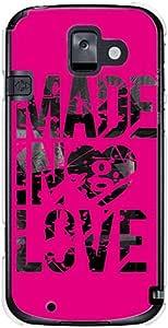 CaseMarket docomo 简易智能手机2 (F-08E) 聚碳酸酯 透明硬壳 [ Made in Love - Pink Paint ]