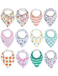 婴儿头巾 drool 围嘴女孩12个装吸水棉质婴儿礼品套装来自 mumby