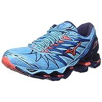 Mizuno Women's Wave Prophecy 7 Wos Running Shoes, Turquoise (Aquarius/Hotcoral/Patriotblue 65), 5.5-6