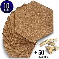 优质六角软木板瓷砖 - 10 张装 - 超厚 - *自粘背面 - 软木瓷砖适用于家庭、学校、宿舍、办公室的墙壁 - 赠送 50 个木制夹钳销