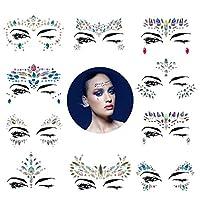 10 套美人鱼脸部闪亮闪耀 - 水钻狂欢节脸饰,Bindi 水晶脸部贴纸,眼部身体临时纹身 用于音乐节 波西米亚·卡奇拉(美人鱼话)