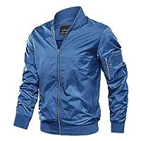 TACVASEN 男式夾克-輕質薄款運動飛行飛行員軟殼外套外套
