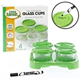 Glass 婴儿食品罐 4 件装,2 盎司 - 可用于微波炉、冰柜和洗碗机