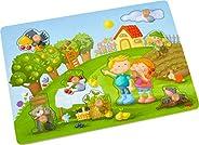 HABA 304430 – 果园抓握拼图,8块木制拼图,带自然图案和大手柄的木制纽扣,12个月以上的木制玩具