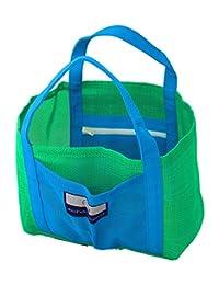儿童小型网状海滩包 - 2 个拉链,手袋,绿色和蓝色