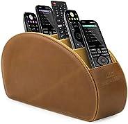 MegaGear 遥控器支架 - 商店 DVD、蓝光、电视、Roku 或 Apple 电视遥控器 - 5 个口袋、PU 皮 - 超薄、紧凑的居家或卧室存储MG1407 浅棕色