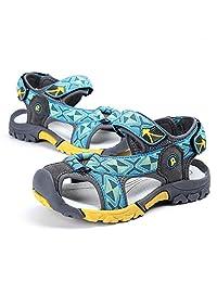 马爷子 儿童沙滩鞋 优质猪皮鞋面+织带 防滑减震小学生凉鞋 防撞包头沙滩鞋 012-NB41-X