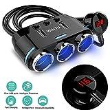3 插座点*器分线器双 LED USB 车载充电器适配器,电压监测器,雪茄插座独立开/关开关 黑色 -2 E27