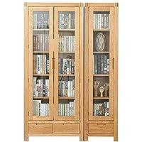 百伽 全实木书柜北欧橡木玻璃门书橱书架带抽屉展示柜书房家具65610/65611【亚马逊自营,供应商配送】