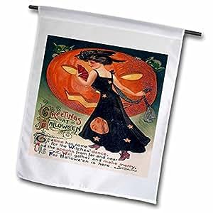 SANDY mertens 复古万圣节设计–复古万圣节女用黑色–旗帜 12 x 18 inch Garden Flag