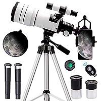 ToyerBee 儿童、成人和初学者用望远镜,70 毫米光圈 300 毫米天文折射望远镜(15X-150X),便携式旅行望远镜,带可调节三脚架,手机适配器和无线遥控器