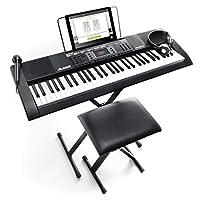 Alesis Melody 61 初學者包 - 61 鍵便攜式鍵盤帶支架、長座椅、耳機和麥克風Melody61MKII Full Size Keys, 300 Sounds