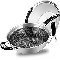 德国工艺304不锈钢无烟不粘炒锅电磁炉通用炒锅 采用蜂窝设计和纳米新科技的完美组合 (一个装(32cm))