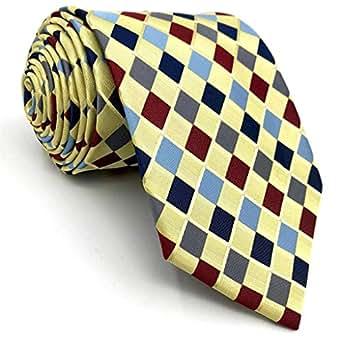 "Shlax&Wing Designer Yellow Multicolor Mens Neckties Silk Tie Set Checkered Fashion Classic Necktie 57.5"" X 3.15"" Classic Necktie 57.5"" x 3.15"""
