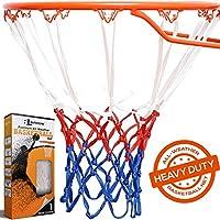BETTERLINE 篮球网替换件 | 红色白色和蓝色全天候厚重重型 | 12 环网适用于室内和室外边缘