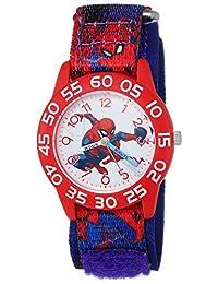 MARVEL 男童蜘蛛侠石英塑料尼龙休闲手表,颜色:蓝色(型号:WMA000193)