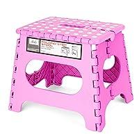 acko 2PACK 粉红色折叠梯凳带防滑表面儿童和成人带把手, holds 高达113.4kilogram 粉色