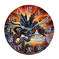 """The Highgate Horror Bloodlust Dragon Wall Clock By Alchemy Gothic Round Plate 13.5""""D"""