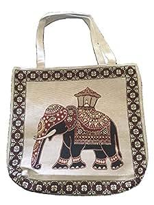 动物帆布手提袋可重复使用袋,带保护衬垫 大象灰