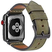 沃卒(WOOZU) Apple Watch表带真皮 苹果手表4代表带 Apple Watch Series 4疯马纹磨砂表带 Apple Watch 4表带牛皮 iWatch 44mm表带 Apple Watch 44mm表带 Apple Watch保护套保护壳(44mm) (44mm, 军绿)