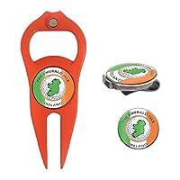 Hat Trick Openers 6 合 1 高尔夫草皮工具和帽夹组合带爱尔兰标志,橙色