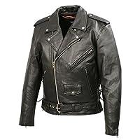 男式摩托车皮夹克   优质天然水牛皮 2X 黑色 BZ1511-BLK-2X