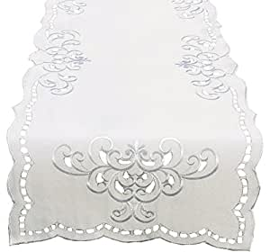 Xia Home Fashions Hampton Embroidered Cutwork Table Runner, 15 by 72-Inch, White