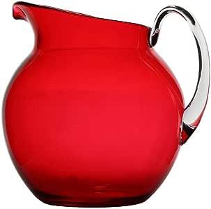 Lily's Home 防碎塑料室内户外水壶,大容量110盎司 红色