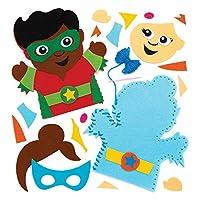 Baker Ross Star Hero 儿童手偶缝纫套装(4 件装)AW545,手工毛毡件和装饰品,适合儿童缝制