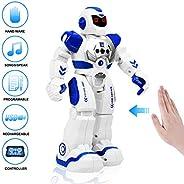 RC 儿童机器人、带 LED 灯的遥控机器人玩具、红外控制可编程唱歌舞蹈手势感应智能机器人套件、送给男孩、女孩、幼儿的礼物
