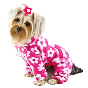 Klippo 狗/小狗全花朵羊毛高领睡衣/紧身衣/家居服/连衣裤/连衣裤/连衣裤/小品种连体衣 Pinks S