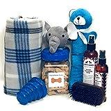 新款 Wolfe & Sparky 豪华蓝色狗狗礼品套装包括一个经典的狗狗毛毯,2 瓶狼和闪发光的自然*产品,*花生黄油狗狗*,2 个玩具和 1 把木制毛刷!!!