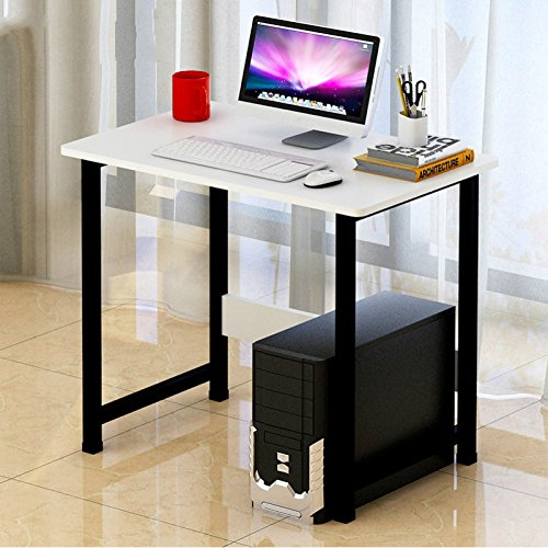 Jinghaoコンピュータデスクデスクトップホームデスク寝室の机シンプルモダンな環境ライティングデスク学生学習経済テーブルA 35(80ロングチタンホワイト)