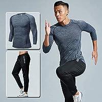 GTU 上衣+短裤+长裤 三件套 健身服套装健身房跑步篮球训练服紧身速干衣运动套装男