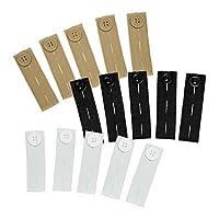 弹性束腰(15 件多色套装) - 结实的可调节裤子按钮延长带,黑色、白色和卡其色由 Comfy Clothiers 出品