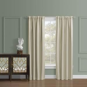 Sundown Interiors 隔热遮光窗帘三层编织涤纶带杆套/背面标签,一套 2 片,附赠配套的背扣 米色 52Wx95L B01LW5KP6R