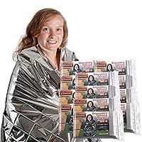 Grizzly Gear 应急保暖毯 - 聚酯薄膜防水防雨备救生毯 - 专为 NASA 设计 - 适用于露营、远足、狩猎、马拉松、急救等的多功能 12 包 银色 TB12