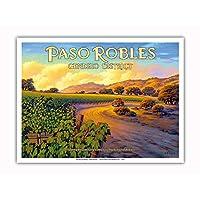 Pacifica Island Art - 帕索羅勒 - 基督教區 - *海岸 AVA 葡萄* - 加利福尼亞葡萄*鄉村藝術 Kerne Erickson - 大師藝術印刷品 9 x 12 in PRTACS158