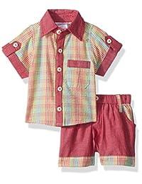Masala Baby 男宝宝霓虹衬衫 2 件套格子图案