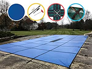 Water Warden Pool Safety Cover Solid Blue 18 by 40-Feet Pool