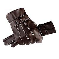 FERSOAR F 烽索 触屏皮手套 商务加绒PU保暖骑行手套 HW-101 棕色(亚马逊自营商品, 由供应商配送)