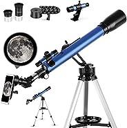 TELMU 望远镜,60 毫米光圈天文折射望远镜,适合儿童和初学者 - 便携式旅行望远镜带三脚架、手机适配器和取景器瞄准镜